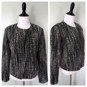 CAbi Black White Wool Wrap Front Zip Up Blazer
